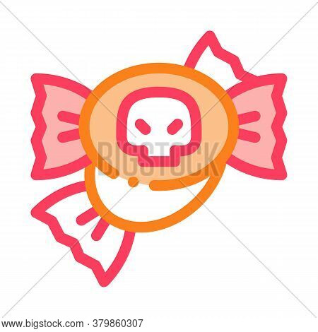 Halloween Candy Icon Vector. Halloween Candy Sign. Color Symbol Illustration