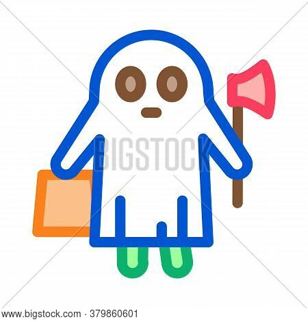 Halloween Ghost Icon Vector. Halloween Ghost Sign. Color Symbol Illustration
