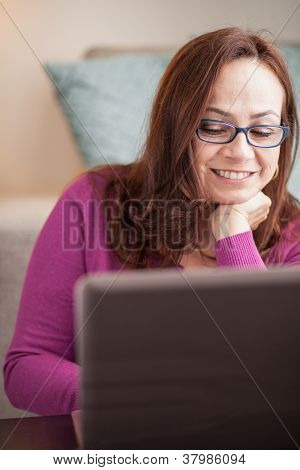Beautiful Woman With Computer