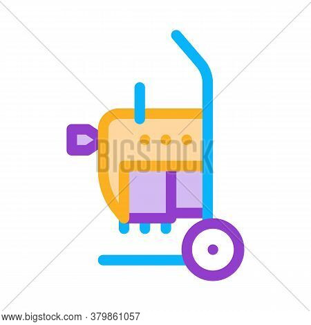 Drain Cleaning Machine On Cart Icon Vector. Drain Cleaning Machine On Cart Sign. Color Symbol Illust