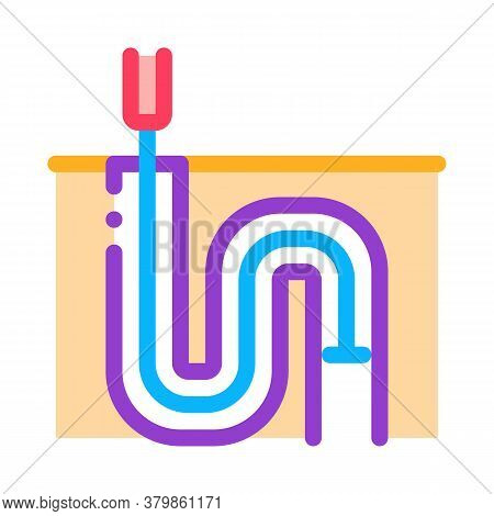Drain Pipe Cleaning Equipment Icon Vector. Drain Pipe Cleaning Equipment Sign. Color Symbol Illustra
