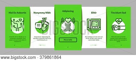 Hypertension Disease Onboarding Mobile App Page Screen Vector. Hypertension Ill And Treatment, Heart