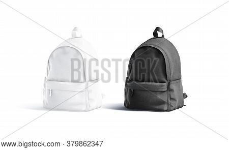 Blank Black And White Closed Backpack With Zipper Mockup Set, 3d Rendering. Empty Canvas Bagging For