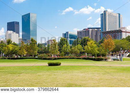 Atlanta, Georgia, United States - July 05, 2012: Skyline Of Buildings At Downtown Atlanta.