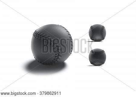 Blank Black Baseball Ball Seam Mockup, Different Views, 3d Rendering. Empty Leather Softball For Usa