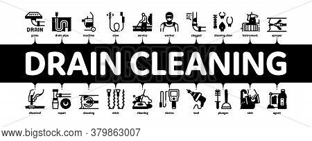 Drain Cleaning Service Minimal Infographic Web Banner Vector. Drain System Clean Equipment And Agent