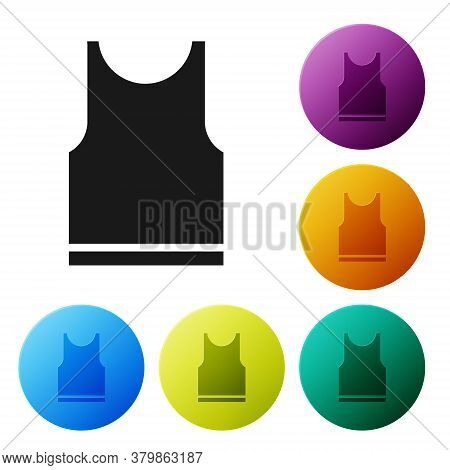 Black Sleeveless T-shirt Icon Isolated On White Background. Set Icons In Color Circle Buttons. Vecto