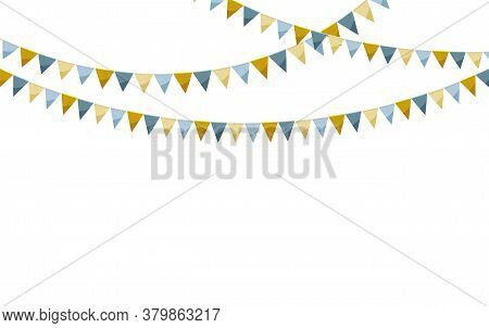 Elegant Paper Bunting Party Flags Isolated On White Background. Carnival Garland With Flags. Decorat