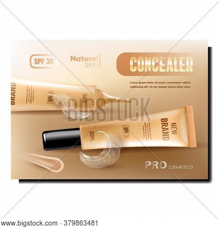 Concealer Skin Package Promotional Banner Vector. Concealer Blank Tube, Cosmetic Smear And Bird Feat