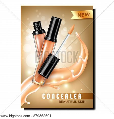 Concealer Facial Skin Care Liquid Banner Vector. Concealer Blank Glass Container And Brush For Face