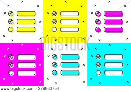 Set Task List Icon Isolated On Color Background. Control List Symbol. Survey Poll Or Questionnaire F
