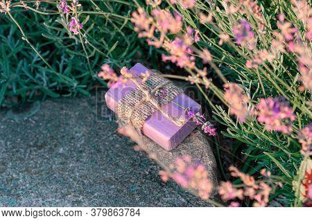 Handmade Natural Soap With Lavander. Floral Background.