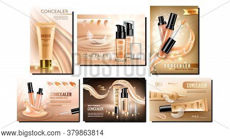 Concealer Cream Promotional Banners Set Vector. Collection Of Concealer Different Blank Bottles With