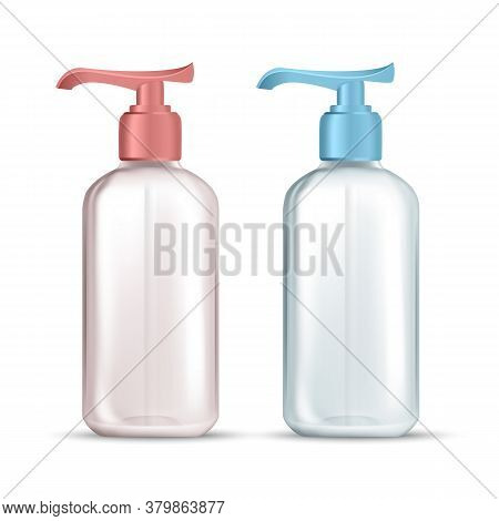 Bottle With Pump For Hygienic Liquid Soap Vector. Empty Transparent Bottle For Wash Hands And Face S