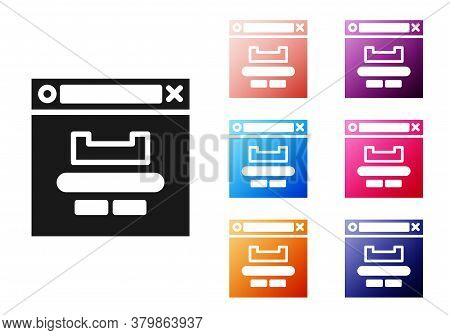 Black Browser Window Icon Isolated On White Background. Set Icons Colorful. Vector Illustration