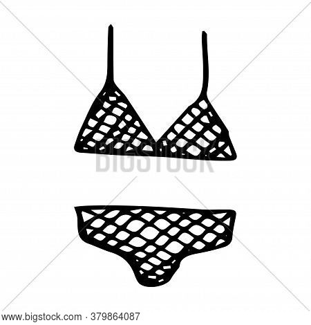 Doodle Drawing Two-piece Swimsuit In A Cage, Bra And Panties, Black Line On A White Background Isola