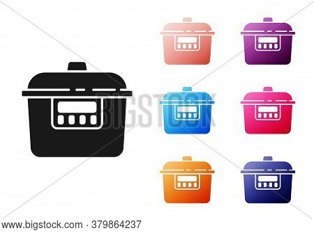 Black Slow Cooker Icon Isolated On White Background. Electric Pan. Set Icons Colorful. Vector