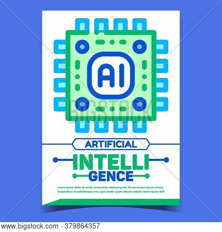 Ai Artificial Intelligence Advertise Banner Vector. Computer Robot Ai Microchip Promo Poster. Concep