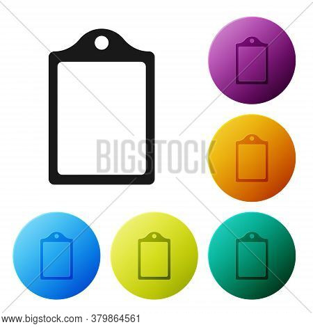 Black Cutting Board Icon Isolated On White Background. Chopping Board Symbol. Set Icons In Color Cir