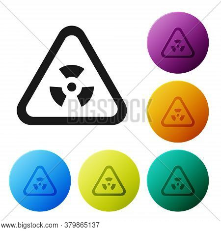 Black Triangle Sign With Radiation Symbol Icon Isolated On White Background. Set Icons In Color Circ