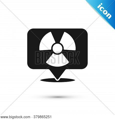 Grey Radioactive In Location Icon Isolated On White Background. Radioactive Toxic Symbol. Radiation