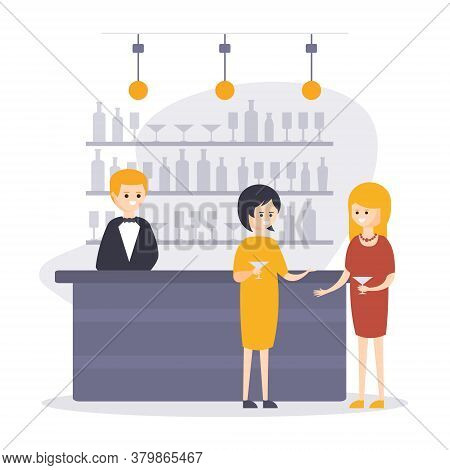 Two Women Drinking Cocktails At Bar Counter With Barman Making Drinks, Restaurant Interior In Hotel