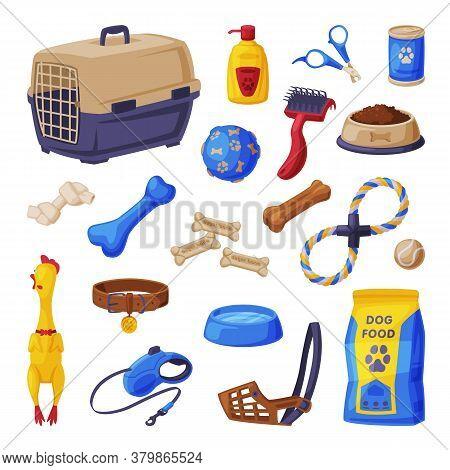Dog Accessories Set, Pet Shop Products, Food, Scratching Post, Pet Cage, Comb, Toys, Treats Cartoon