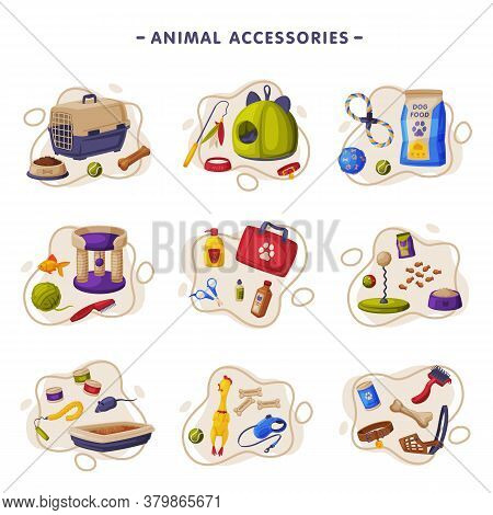 Animal Accessories Set, Pet Shop Products, Food, Toys, Veterinary Medicines, Accessories For Care, C