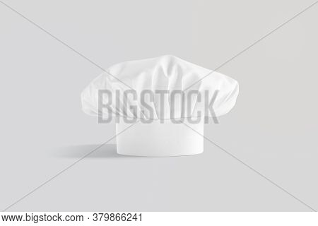 Blank White Toque Chef Hat Mockup Stand, Gray Background, 3d Rendering. Empty Protect Master Headgea