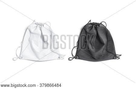 Blank Black And White Drawstring Backpack Mockup Lying, Top View, 3d Rendering. Empty Linen Or Cotto