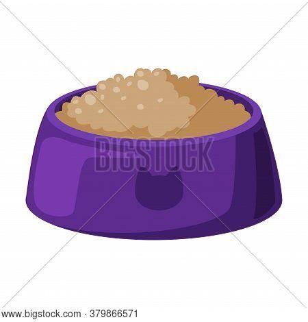 Bowl Of Cat Food, Pet Animals Feeding Cartoon Style Vector Illustration On White Background