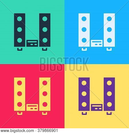 Pop Art Home Stereo With Two Speaker S Icon Isolated On Color Background. Music System. Vector