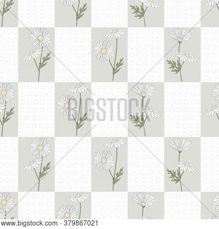 Vector Daisy Flowers In White Yellow Green In White And Gray Rectangles Seamless Repeat Pattern. Bac