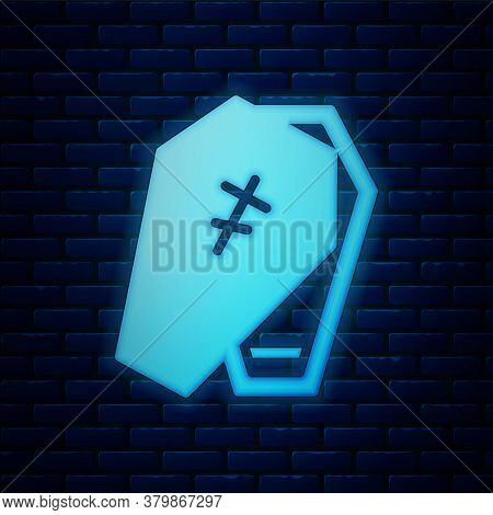 Glowing Neon Coffin With Christian Cross Icon Isolated On Brick Wall Background. Happy Halloween Par