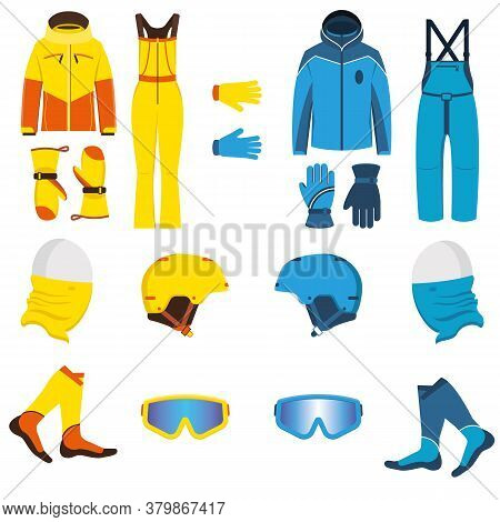 Ski Wear Vector Illustration. Waterproof, Breathable Men And Women Clothing For Winter Sports And Re