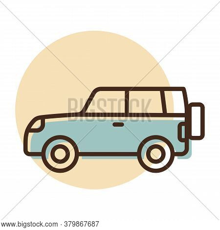 Suv Car Flat Vector Icon. Graph Symbol For Travel And Tourism Web Site And Apps Design, Logo, App, U