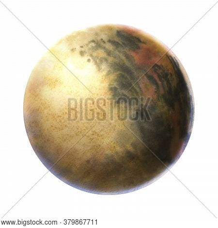 Planet Painted In Watercolor On A White Background. Brush Drawing The Planet. The Texture In The Cir