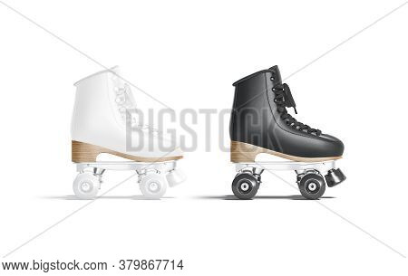 Blank Black And White Roller Skates With Wheels Mockup Set, Isolated, 3d Rendering. Empty Rollerskat