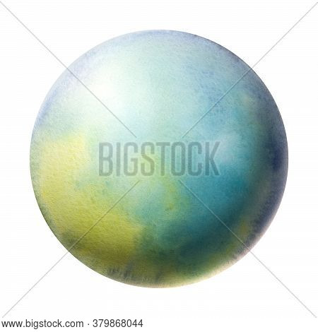 Colorful Planet Painted In Watercolor On A White Background. Brush Drawing A Planet. The Texture In