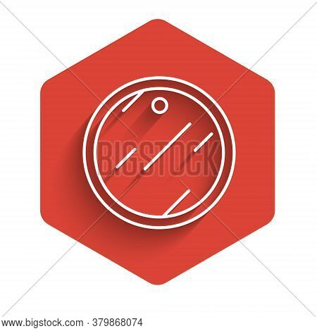 White Line Cutting Board Icon Isolated With Long Shadow. Chopping Board Symbol. Red Hexagon Button.