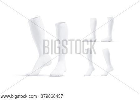 Blank White Pair Soccer Socks Toe Mockup, Different Views, 3d Rendering. Empty Elastic Football Legg
