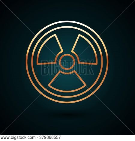 Gold Line Radioactive Icon Isolated On Dark Blue Background. Radioactive Toxic Symbol. Radiation Haz