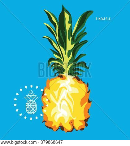 Half Of Ripe Pineapple, Closeup, Cut In Half Exotic Fruit Isolated, Food Concept, Vector Illustratio