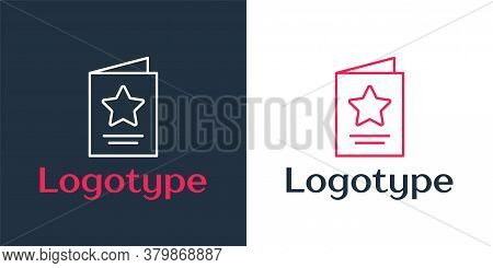 Logotype Line Greeting Card Icon Isolated On White Background. Celebration Poster Template For Invit