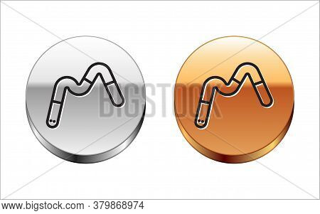 Black Line Jelly Worms Candy Icon Isolated On White Background. Silver-gold Circle Button. Vector