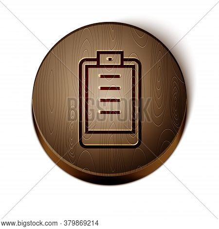 Brown Line Clipboard With Checklist Icon Isolated On White Background. Control List Symbol. Survey P