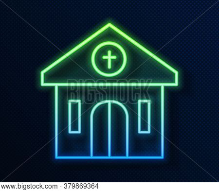 Glowing Neon Line Church Building Icon Isolated On Blue Background. Christian Church. Religion Of Ch