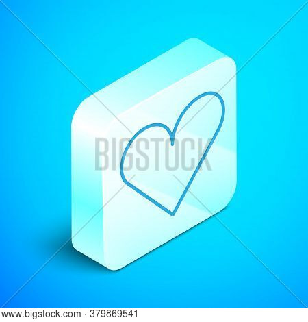 Isometric Line Heart Icon Isolated On Blue Background. Romantic Symbol Linked, Join, Passion And Wed