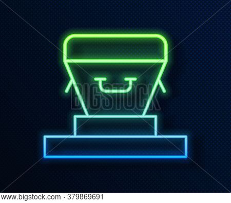 Glowing Neon Line Coffin Icon Isolated On Blue Background. Funeral Ceremony. Vector
