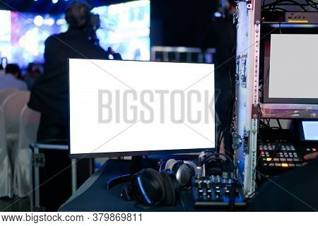 Visual Audio System Controller Equipment Of Sound Technician With Lights Control Music Show In Conce